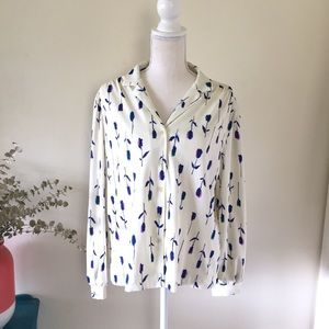 Vintage 70's Blue Flowers Polyester Button Down